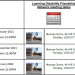 Learning Disability Friendship Network Meeting Dates 2021-2022