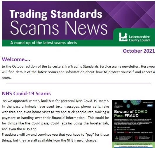 Trading Standards Scams Newsletter October 2021
